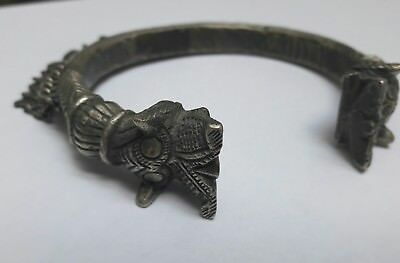 VINTAGE Double Dragon Tribal Cuff Bracelet - Hand Carved RARE NR!!