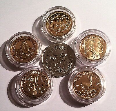 Set of 5 x 1 Gram Mini Coins 999 24K Gold Plated (D)
