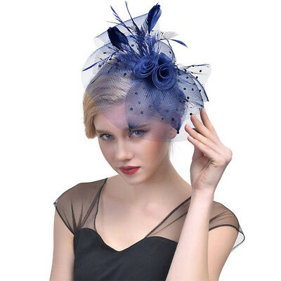 Damen Sinamay Fascinator Hut Haarklammer Derby Netzfeder Cocktail Topper