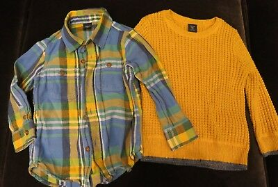 Baby Gap Boys Waffle Sweater/long Sleeve Dress Shirt Lot Of 2 Size 3 Years