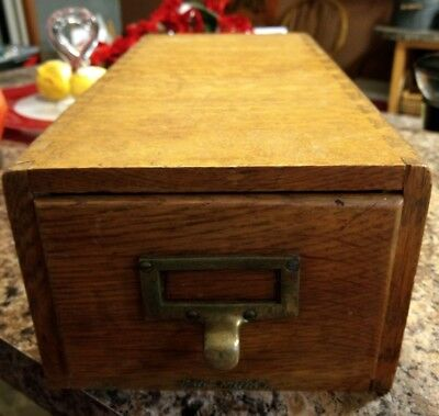 Vintage Library Index Card Catalog Single Drawer Oak File Box Cabinet