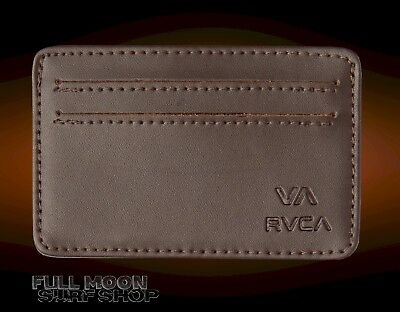 c18d31233bd7 NEW RVCA CARD Mens Brown Leather Wallet