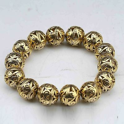 Chinese Tibetan Silver Gilt Hand Carved Hollow Out Small Bead Bracelet