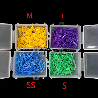 400pcs Dental Plastic Poly-wedges with Dental holes 4 colors 4 sizes VIP