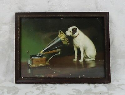 RARE Antique 1900s Victor Talking Machine Nipper His Masters Voice Advertisement
