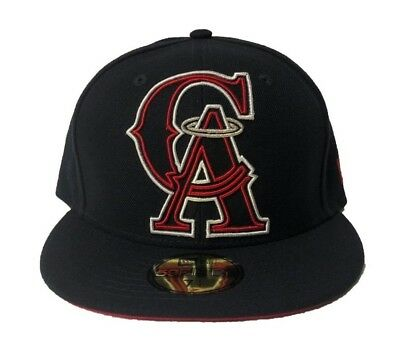 4d37827b1d4 New Era California Angels Frame Front Men s Navy Blue Red Fitted Hat 59FIFTY