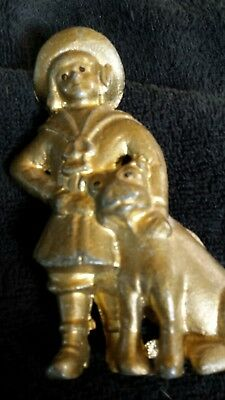 Vintage Gold Tone Cast Iron Bank  Buster Brown and Tige