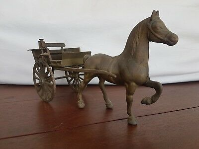 vintage  brass horse and dray