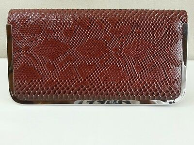 Women's Brown Reptile Emboss Faux Leather Evening Clutch Shoulder Bag