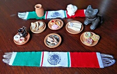Bundle Mexican Traditional Food Miniature Dishes Handcrafted Set of 11 Pcs.