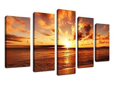 ARTEWOODS Wall Art Canvas Prints Sunset on Sea Beach Framed Ready to Hang, 5