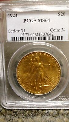 1924 PCGS MS 64 Double Eagle, $20 Gold St Gaudens DEEP LUSTER Free S/H!