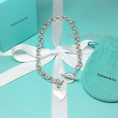 Tiffany & Co. Heart Tag Toggle Chain Necklace Choker Sterling Silver Box & Pouch
