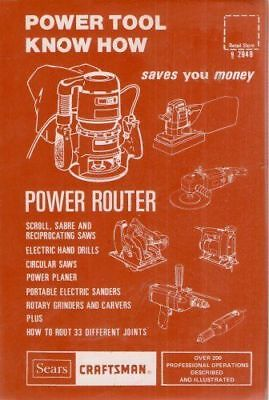 Sears Craftsman Power Tool Know How: Power Router -VG*