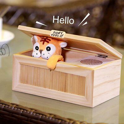 Leave Me Alone Wooden Useless Box Don't Touch Tiger Magic Relaxing Desk Toy eh