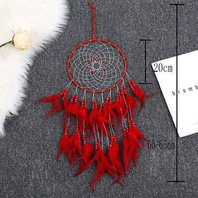 Tassel Catching Monternet Red Dream Catcher Creative Feathers Home Decor ND