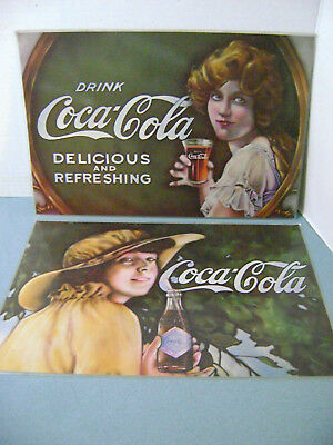 "Coca Cola Set of 2 Placemats 12"" X 17.5 Drink Coca Cola Delicious & Refreshing"