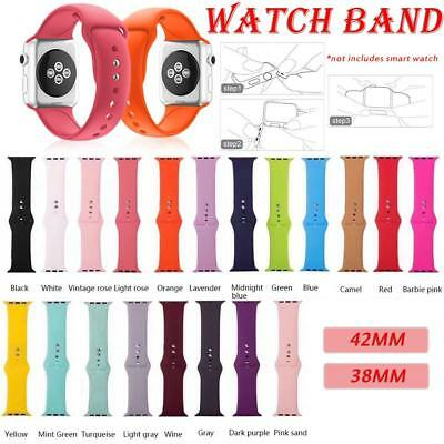 Replacement Silicone Sport Band Strap 38mm/ 42mm For Apple Watch iWatch 1 2 3 4