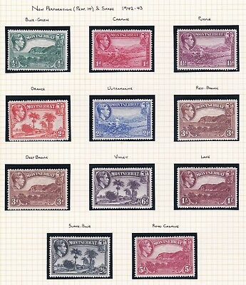 Commonwealth. Montserrat. 1942-53 Perf and Shade Varieties.  Mint.