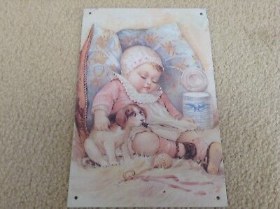 EAGLE BRAND BORDEN CONDENSED MILK BABY PUPPY BOTTLE Tin Sign Free Shipping