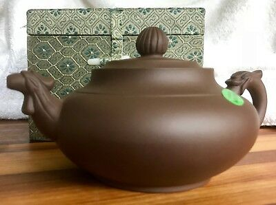 New Authentic HandCrafted YiXing Zisha Clay Dragon Phoenix Teapot Boxed USA Ship