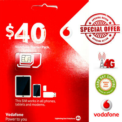 Vodafone $40 Prepaid  Starter Pack Trio Sim Unlimit calls & Txt up to 17GB Data