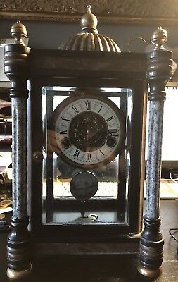 19th Century Black Marble Domed Mantle Clock With Enamelled Pendulum