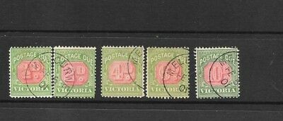 Stamps Victoria    Postage Dues 1895-    5 Values All C T O  =Priced