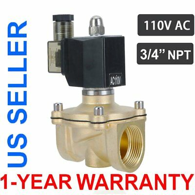 """3/4"""" Brass Electric Solenoid Valve 110 Volt AC Water Air Gas VITON NC Copper MS"""