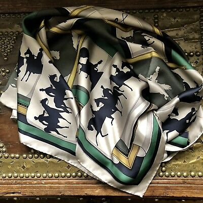Smart JOULES Equestrian Sports Print Large Silk Scarf Perfect!