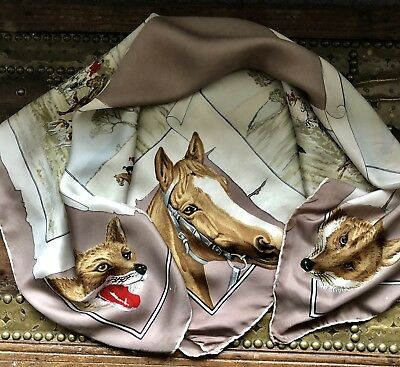 Lovely Vintage ROY THIRKELL Countryside Scene Horses & Foxes Print Silk Scarf