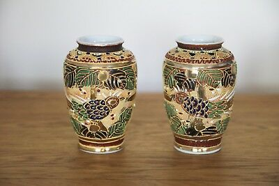 Pair of Hand Painted Japanese Vases - 1920s