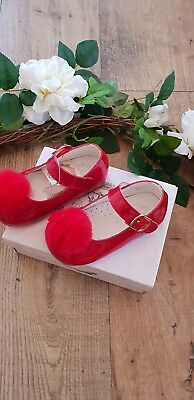*SALE GIRLS COUCHE TOT  SPANISH SHOES RED LEATHER WITH FUR POMS