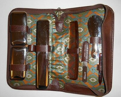 Mens Travel Shaving Kit In Brown Zip Close Case Made In Germany Vintage
