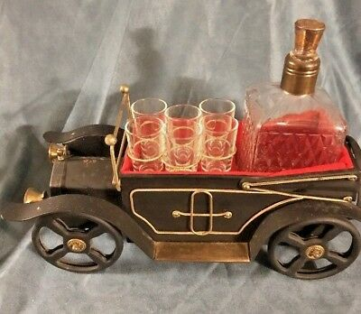 1930 Classic Touring Car Music Box With Decanter Shot Glasses Plays How Dry I Am