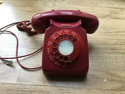 Red retro dial corded phone model 746  fully working