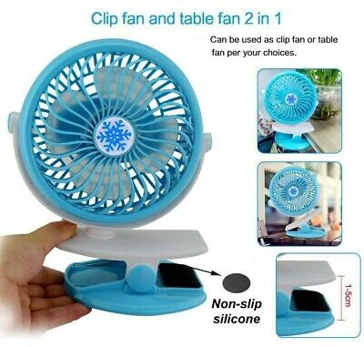Rechargeable Battery Mini Oscillating Clip On Portable Fan Black w/mesquito net.