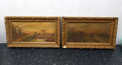 Pair of Victorian Gilt / Gesso framed Signed oils on canvas