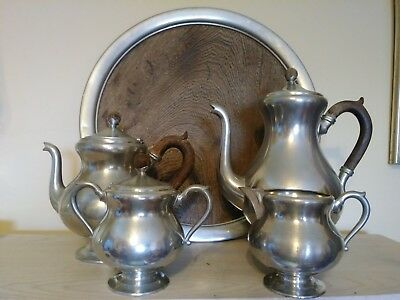 Vin Royal Daalderop Pewter MCM Holland KMD 5 pc Tea Coffee Service Teak Handles