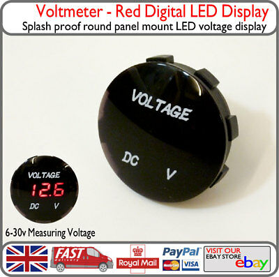 Red LED Voltmeter Round Battery Display Solar Monitor Camper Van Motorbike 12v