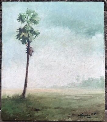 ARPAN BHOWMIK Original Oil Painting On Canvas Of A Palm Tree ~ Signed & Dated 08