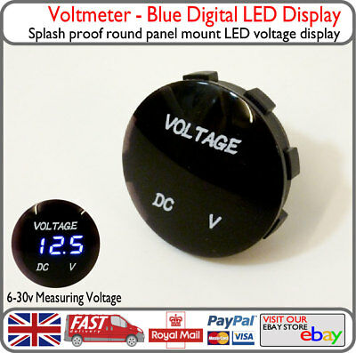 12v 24v Blue Digital LED Panel Voltmeter Voltage Battery Display VW Van Boat Car