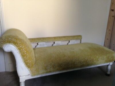 antique chaise longue upholstered in designers guild fabric