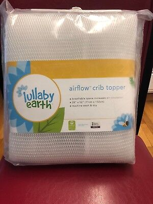 "Lullaby Earth Airflow Flat Crib Topper 28"" x 52"" Breathable New"