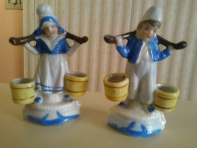 Occupied Japan Figurines Little Dutch Boy & Girl Carrying Water  -RARE!