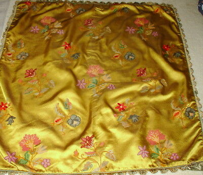 Vintage Hand Crewel Embroidery Floral Estate Find
