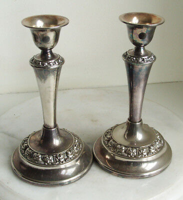 Silver Plated Candlesticks. 17.5cm Tall