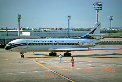 """Air France Sud SE-210 Caravelle III F-BJTP at ORY August 1975 8""""x12"""" Color Print"""