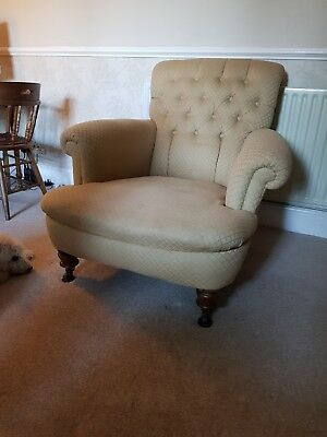 Stunning Antique Victorian Top Quality Library Scroll Arm Lounge Armchair Chair