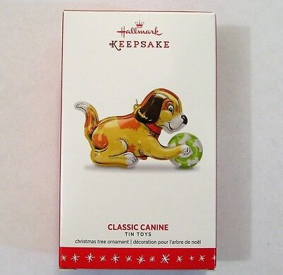 Hallmark 2016 Classic Canine Dog Ornament 3rd In The Tin Toys Series Pressed Tin